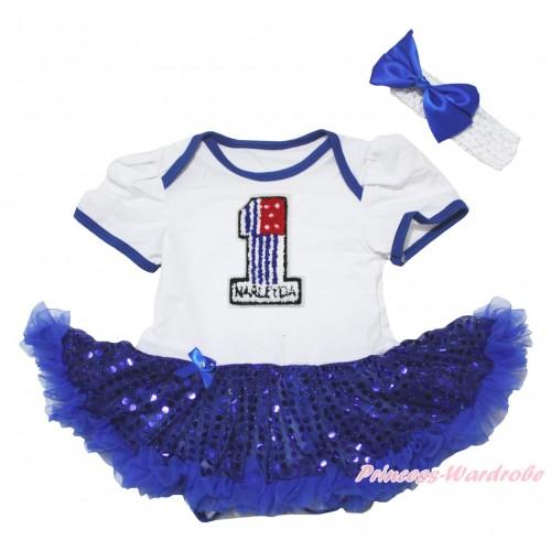 American's Birthday White Baby Bodysuit Jumpsuit Bling Royal Blue Sequins Pettiskirt & 1st American Flag Birthday Number Print JS5055