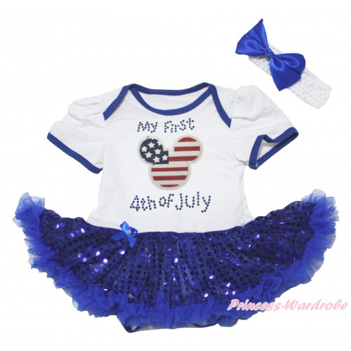 American's Birthday White Baby Bodysuit Jumpsuit Bling Royal Blue Sequins Pettiskirt & American Striped Stars Minnie Rhinestone My 1st American 4th Of July Print JS5057