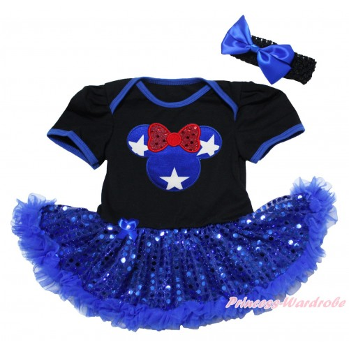 American's Birthday Black Baby Bodysuit Jumpsuit Bling Royal Blue Sequins Pettiskirt & Patriotic American Star Minnie Print JS5059