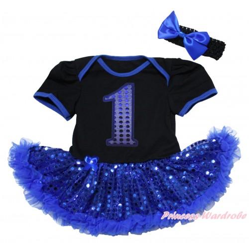 Black Baby Bodysuit Bling Royal Blue Sequins Pettiskirt & 1st Sparkle Royal Blue Birthday Number Print JS5060
