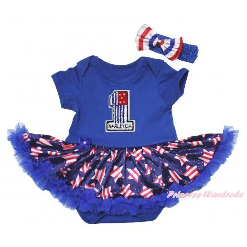 American's Birthday Blue Baby Bodysuit Jumpsuit White Dots Patriotic American Star Pettiskirt & 1st American Flag Birthday Number Print JS5075