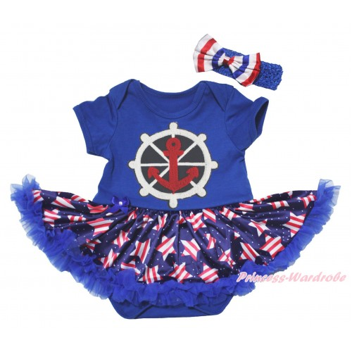 American's Birthday Blue Baby Bodysuit Jumpsuit White Dots Patriotic American Star Pettiskirt & Anchors Print JS5076