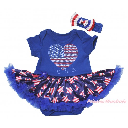 American's Birthday Blue Baby Bodysuit Jumpsuit White Dots Patriotic American Star Pettiskirt & Sparkle Crystal Bling Rhinestone USA Heart Print JS5077