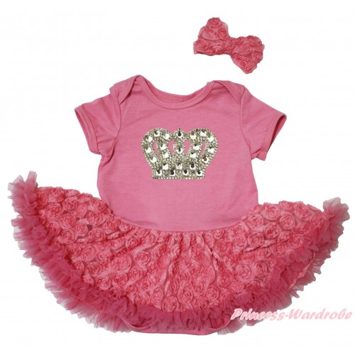Dusty Pink Baby Bodysuit Dusty Pink Rose Pettiskirt & Silver Sparkle Crystal Bling Rhinestone Crown Print JS5086