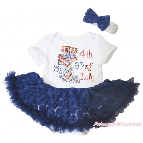 American's Birthday White Baby Bodysuit Jumpsuit Navy Blue Rose Pettiskirt & Rhinestone My 1st American 4th Of July Print JS5097