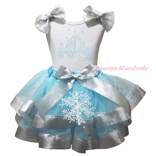 White Baby Pettitop Sparkle Grey Silver Bows & Sparkle Rhinestone Cinderella Carriage Print & Snowflakes Light Blue Sparkle Grey Silver Trimmed Baby Pettiskirt NG2009