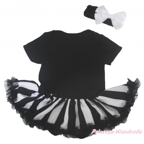 Black Baby Bodysuit Black White Striped Pettiskirt JS5164