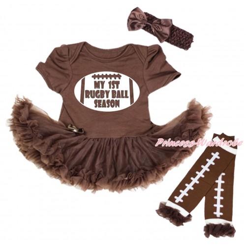 Brown Baby Bodysuit Pettiskirt & My 1st Rugby Ball Painting & Brown Ruffles Rugby Ball Brown Leg Warmer Set JS5176