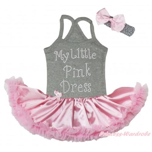 Grey Baby Halter Jumpsuit & Sparkle Rhinestone My Little Pink Dress Print & Light Pink Pettiskirt JS5190