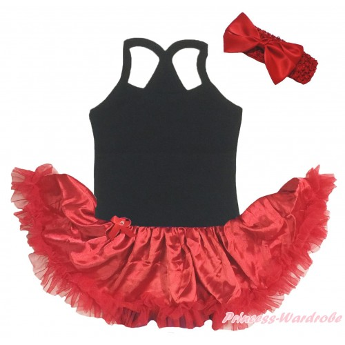 Black Baby Halter Jumpsuit & Red Pettiskirt JS5198