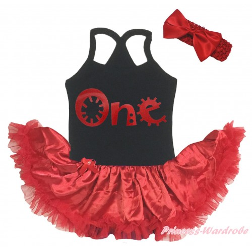Black Baby Halter Jumpsuit & Red One Painting & Red Pettiskirt JS5199