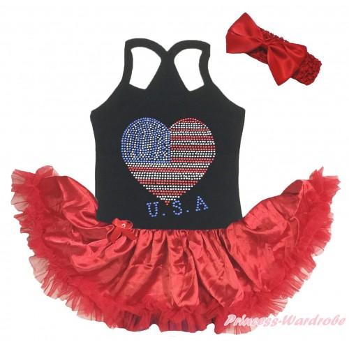 American's Birthday Black Baby Halter Jumpsuit & Sparkle Rhinestone USA Heart Print & Red Pettiskirt JS5204