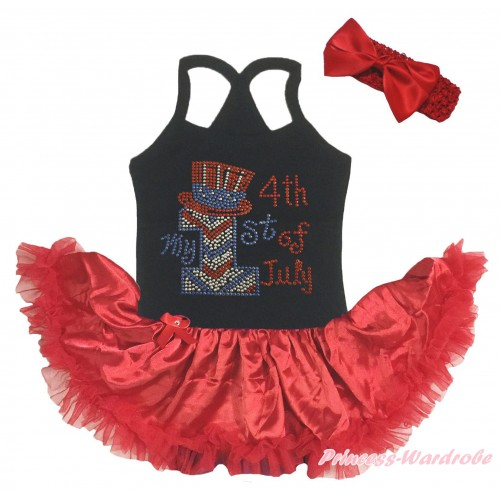 American's Birthday Black Baby Halter Jumpsuit & Sparkle Rhinestone My 1st American 4th Of July Print & Red Pettiskirt JS5205