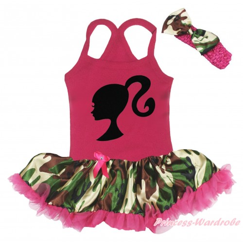 Hot Pink Baby Halter Jumpsuit & Barbie Princess Print & Camouflage Hot Pink Pettiskirt JS5211