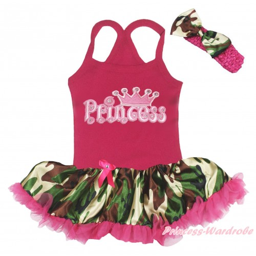 Hot Pink Baby Halter Jumpsuit & Crown Princess Logo Print & Camouflage Hot Pink Pettiskirt JS5212