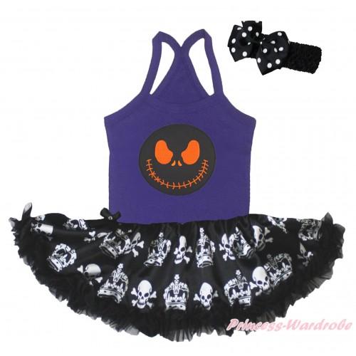 Halloween Dark Purple Baby Halter Jumpsuit & Nightmare Before Christmas Jack & Black Crown Skeleton Pettiskirt JS5217