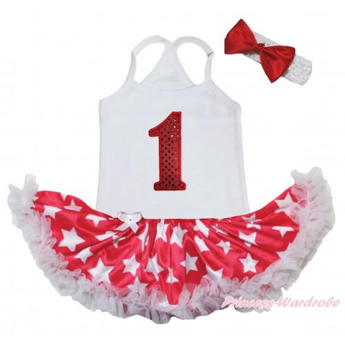 American's Birthday White Baby Halter Jumpsuit & 1st Sparkle Birthday Number Print & Red Patriotic American Star Pettiskirt JS5222