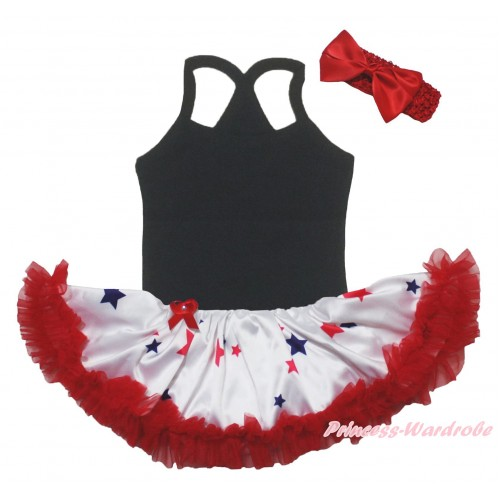 American's Birthday Black Baby Halter Jumpsuit & Red Blue Star Pettiskirt JS5226