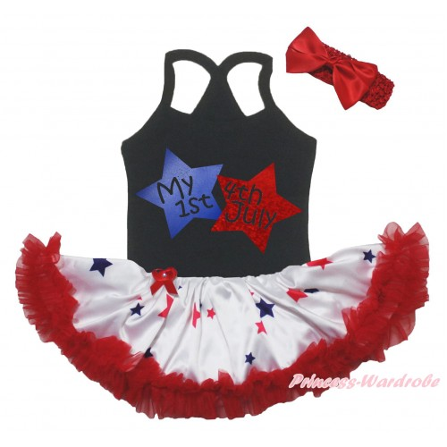 American's Birthday Black Baby Halter Jumpsuit & My 1st American 4th July Twin Star Painting & Red Blue Star Pettiskirt JS5227