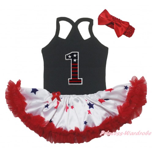 American's Birthday Black Baby Halter Jumpsuit & 1st Patriotic Print Birthday Number & Red Blue Star Pettiskirt JS5228