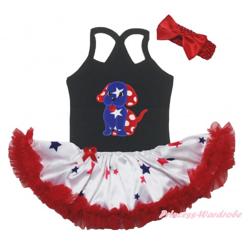 American's Birthday Black Baby Halter Jumpsuit & Patriotic Star Ruffle Red White Bow Minnie Dot Dog Puppy & Red Blue Star Pettiskirt JS5229