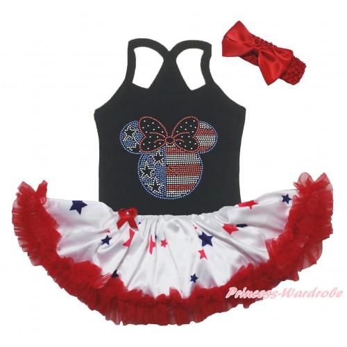 American's Birthday Black Baby Halter Jumpsuit & Sparkle Crystal Bling Rhinestone 4th July Minnie Print & Red Blue Star Pettiskirt JS5231