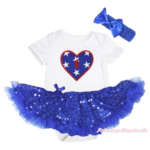 American's Birthday White Baby Bodysuit Jumpsuit Bling Royal Blue Sequins Pettiskirt & 1st Birthday Number American Star Heart Print JS5237