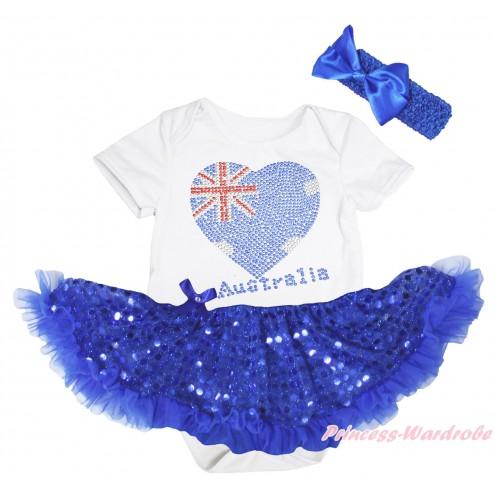 American's Birthday White Baby Bodysuit Jumpsuit Bling Royal Blue Sequins Pettiskirt & Sparkle Crystal Bling Rhinestone Australia Heart Print JS5239