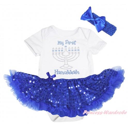 White Baby Bodysuit Bling Royal Blue Sequins Pettiskirt & Sparkle Rhinestone My First Hanukkah Print JS5241