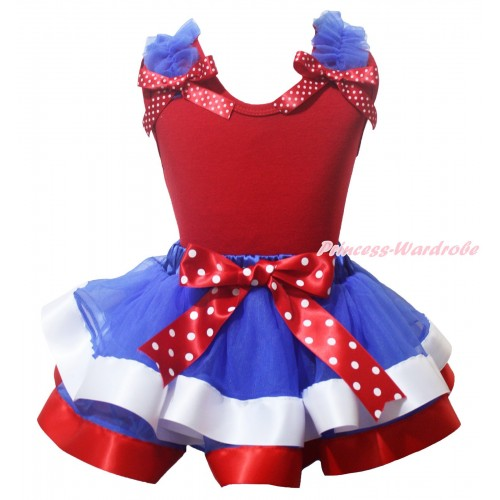 American's Birthday Red Baby Pettitop Royal Blue Ruffles Minnie Dots Bow & Royal Blue White Red Trimmed Baby Pettiskirt NG2086