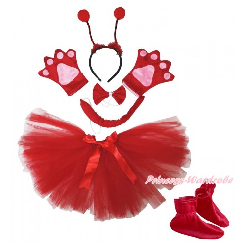 Beetle 4 Piece Set in Headband, Tie, Tail , Paw & Shoes & Red Ballet Tutu & Bow PC106