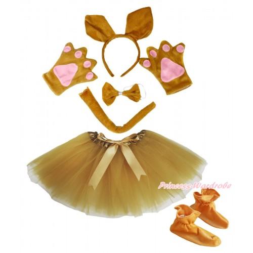 Brown Kangaroo 4 Piece Set in Ear Headband, Tie, Tail , Paw & Shoes & Goldenrod Ballet Tutu & Bow PC110