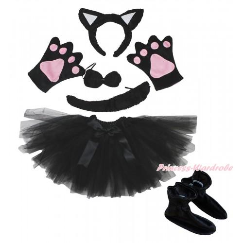 Black Cat 4 Piece Set in Ear Headband, Tie, Tail , Paw & Shoes & Black Ballet Tutu & Bow PC116