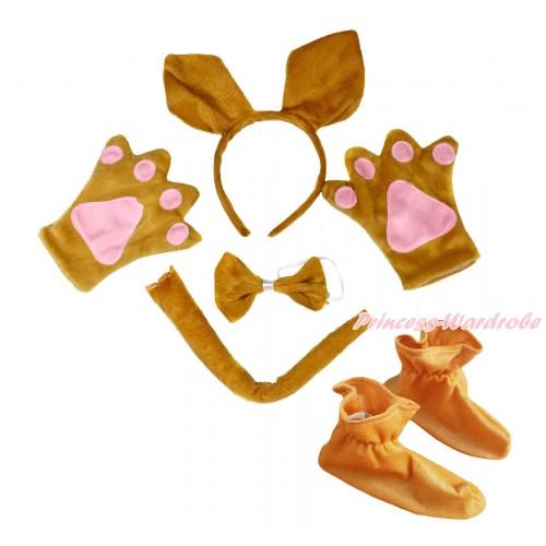 Brown Kangaroo 4 Piece Set in Ear Headband, Tie, Tail , Paw & Shoes PC123