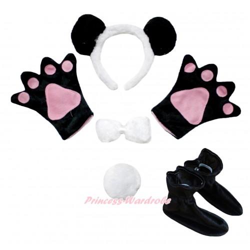 Black White Panda 4 Piece Set in Headband, Tie, Tail , Paw & Shoes PC125