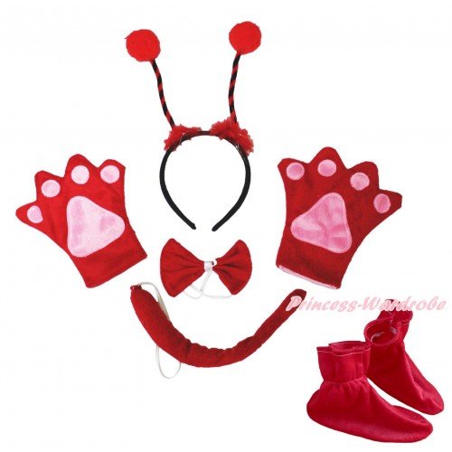 Beetle 4 Piece Set in Headband, Tie, Tail , Paw & Shoes PC127