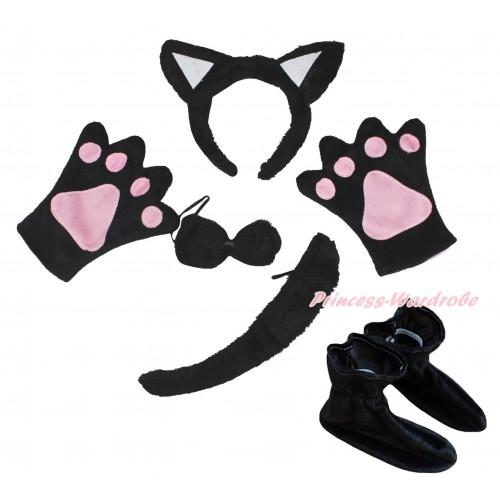 Black Cat 4 Piece Set in Ear Headband, Tie, Tail , Paw & Shoes PC136