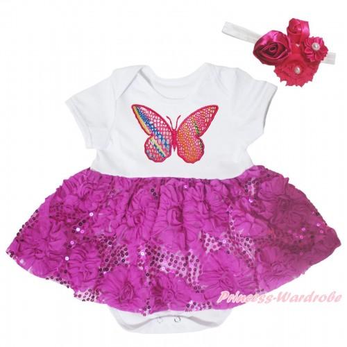 White Baby Bodysuit Dark Purple Bling Sparkle Sequins Rose Pettiskirt & Rainbow Butterfly Print JS5451