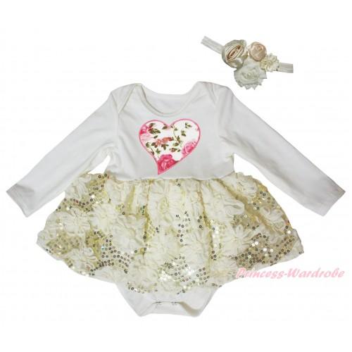 Cream White Long Sleeve Baby Bodysuit Cream White Bling Sparkle Sequins Rose Pettiskirt & Light Pink Rose Heart Print JS5468