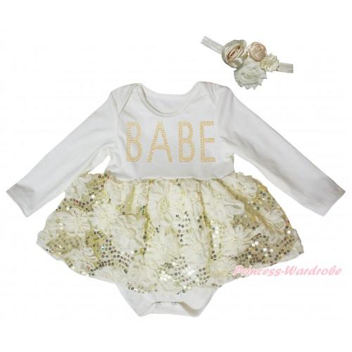 Cream White Long Sleeve Baby Bodysuit Cream White Bling Sparkle Sequins Rose Pettiskirt & Sparkle Rhinestone BABE Print JS5469