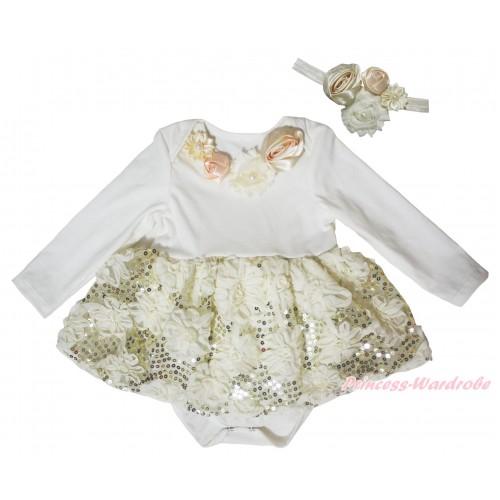 Cream White Long Sleeve Baby Bodysuit Cream White Bling Sparkle Sequins Rose Pettiskirt & Cream White Vintage Garden Rosettes Lacing JS5472