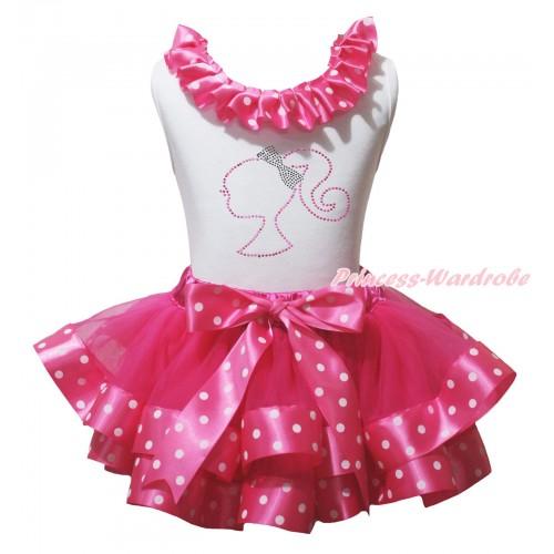 White Pettitop Hot Pink White Dots Lacing & Sparkle Rhinestone Barbie Princess Print & Hot Pink White Dots Trimmed Pettiskirt MG2264