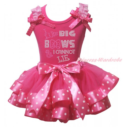Hot Pink Baby Pettitop Light Pink Ruffles Hot Pink White Dots Bow & Sparkle Rhinestone I Like Big Bows Print & Hot Pink White Dots Trimmed Baby Pettiskirt NG2121