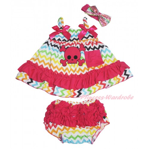 Rainbow Chevron Wave Swing Top Hot Pink Bow & Halloween Pink Skull Print & Panties Bloomers & Headband SP43