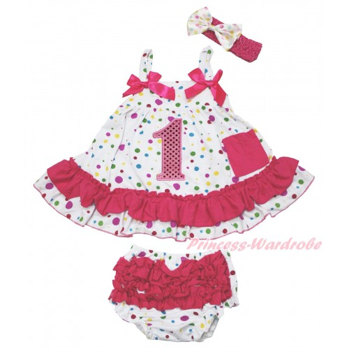 White Rainbow Dots Swing Top Hot Pink Bow & 1st Sparkle Light Pink Birthday Number Print & Panties Bloomers & Headband SP45
