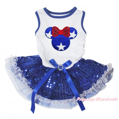 American's Birthday White Blue Piping Sleeveless Royal Blue Lace Gauze Skirt & American Minnie Print & Royal Blue Rhinestone Bow Pet Dress DC297
