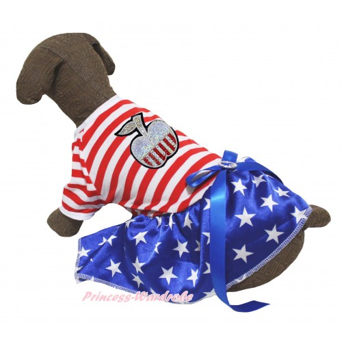 American's Birthday Red White Striped Short Sleeves Patriotic American Star Skirt & Patriotic Print Apple & Royal Blue Rhinestone Bow Pet Dress DC302