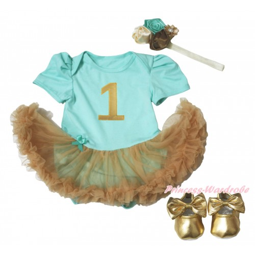 Aqua Blue Baby Bodysuit Goldenrod Pettiskirt & 1st Sparkle Gold Birthday Number Print & Gold Shoes JS5105