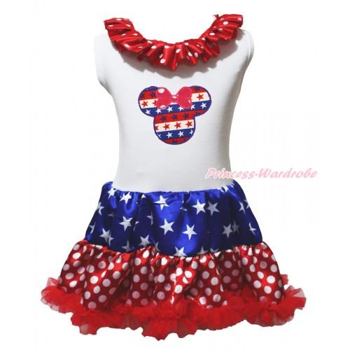 American's Birthday White Tank Top Minnie Dots Lacing Patriotic American Stars & Red White Blue Striped Star Minnie Print & Minnie Dots ONE-PIECE Petti Dress LP243