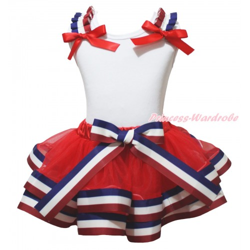 American's Birthday White Tank Top Red White Blue Striped Ruffles Red Bows & Red White Blue Striped Trimmed Pettiskirt MG2102